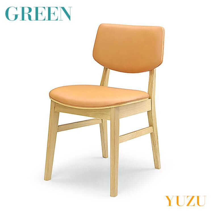 店内商品ポイント10倍 GREEN YUZU チェア E オーク Y-004 リビング ダイニング イス 椅子 セラウッド塗装 グリーン ユズ 【送料無料】