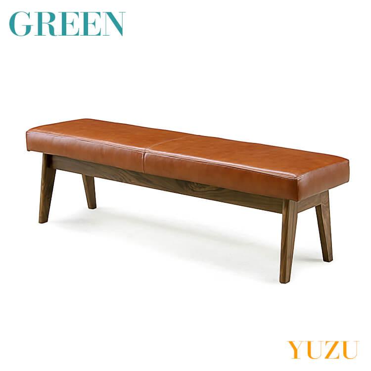【送料無料】GREEN YUZU LDベンチ ウォールナット Y-019(リビング ダイニング チェア イス 椅子 セラウッド塗装 グリーン ユズ) ポイント5倍