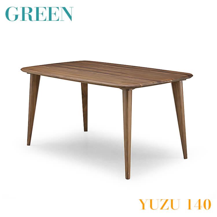 ワンダフルポイント5倍 【送料無料】GREEN YUZU ダイニングテーブル B 140 ウォールナット Y-021 食卓 机 木製 セラウッド塗装 グリーン ユズ