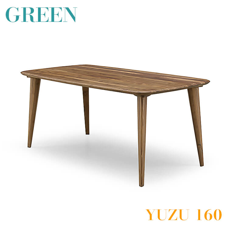 【送料無料】GREEN YUZU ダイニングテーブル B 160 ウォールナット Y-023(食卓 机 木製 セラウッド塗装 グリーン ユズ) ポイント5倍