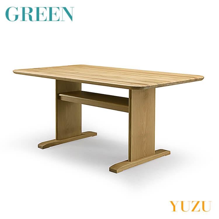 【送料無料】GREEN YUZU LDテーブル オーク Y-028 リビング ダイニング 食卓 机 セラウッド塗装 グリーン ユズ