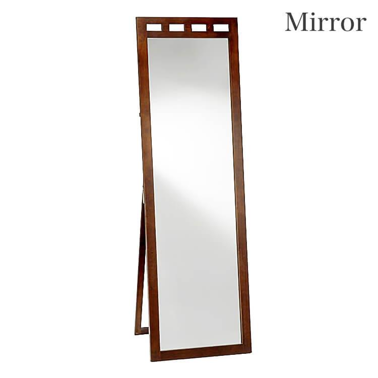 10日ポイント8倍 【送料無料】スタンドミラー485幅 鏡 姿見 木製 ダークブラウン