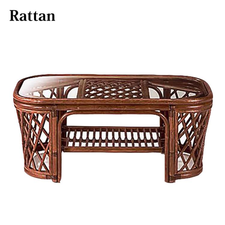 籐リビングテーブル (強化ガラス ラタン 天然素材 長方形) ポイント5倍
