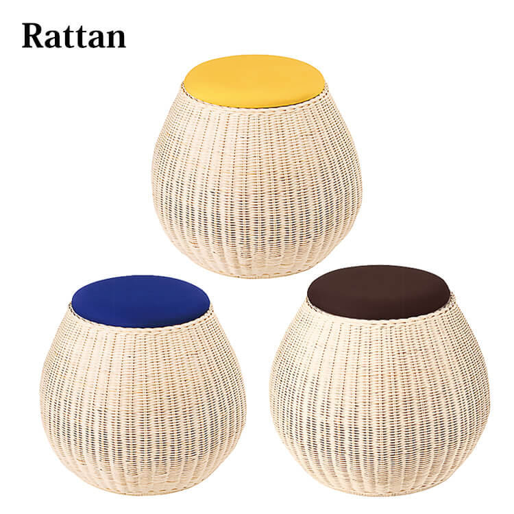籐スツール(ラタン 背もたれなし 丸 円形 チェア 椅子 イス 玄関 リビング ダイニング) ポイント5倍