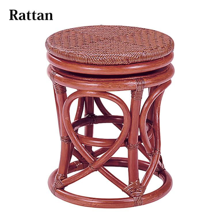 籐スツール 座面360度回転式(ラタン 背もたれなし 丸 円形 チェア 椅子 イス 玄関 リビング ダイニング) ポイント5倍