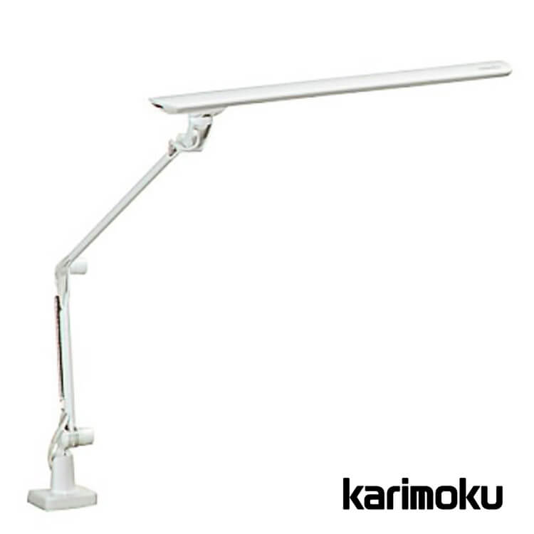 【送料無料】カリモク学習机用LEDスタンドライト/クランプ式 KS0135SHホワイト色(照明 デスクライト 3段階調光式 面発光) ポイント5倍
