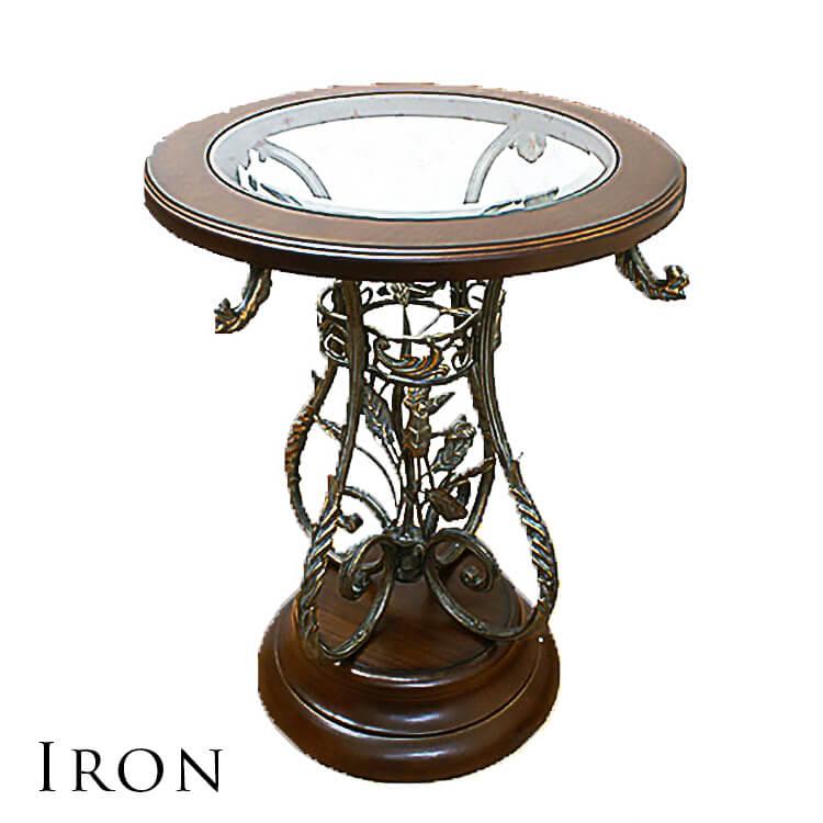 10日ポイント8倍 【送料無料】カフェテーブル 食卓 ダイニング 円 丸 ロートアイアン製 鉄