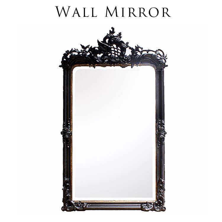 【送料無料】ウォールミラー(大型 鏡 壁掛け ドレッサー 木製フレーム 立体装飾 アンティーク クラシック 豪華 ゴージャス) 木曜ポイント5倍