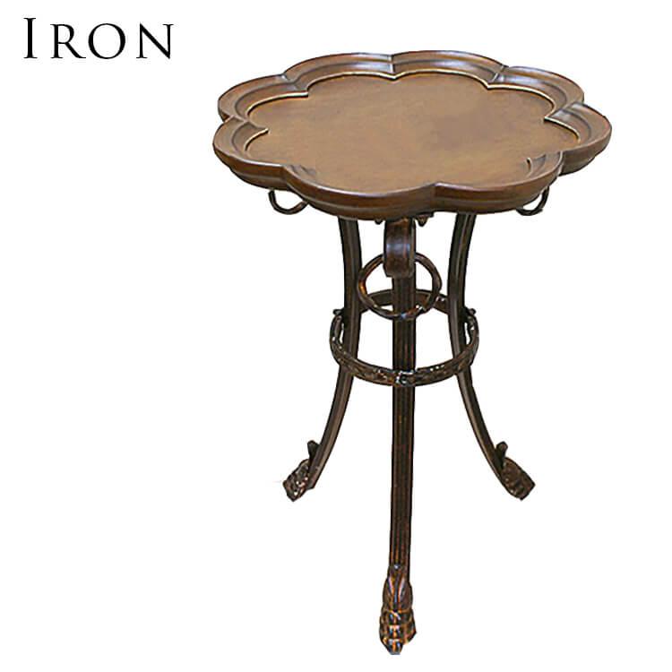 10日ポイント8倍 【送料無料】サイドテーブル 円形 花台 TEL台ラック ロートアイアン製 鉄 木製天板