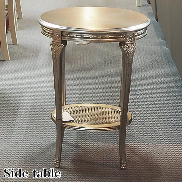 【送料無料】輸入家具 サイドテーブル/網棚付(飾台 木製 シルバー) ポイント5倍