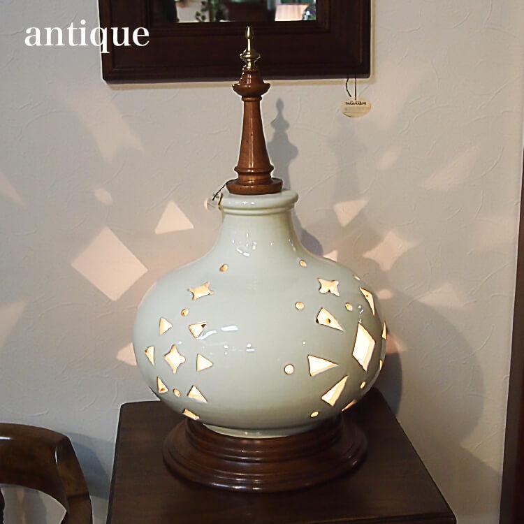 店内商品ポイント8倍 輸入家具 テーブルランプ 照明 ライト 陶磁器 木製 ホワイト インポート 【送料無料】