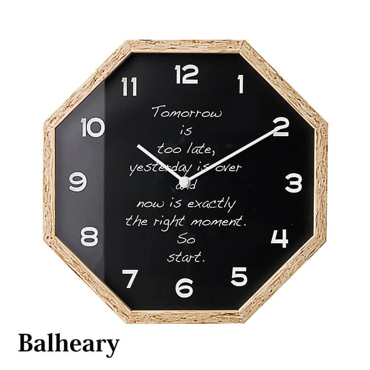 時計 ウォールクロック 壁掛け時計 電波時計 インテリア 八角形 シンプル レトロモダン アンティーク ガラス ホワイト ブラック