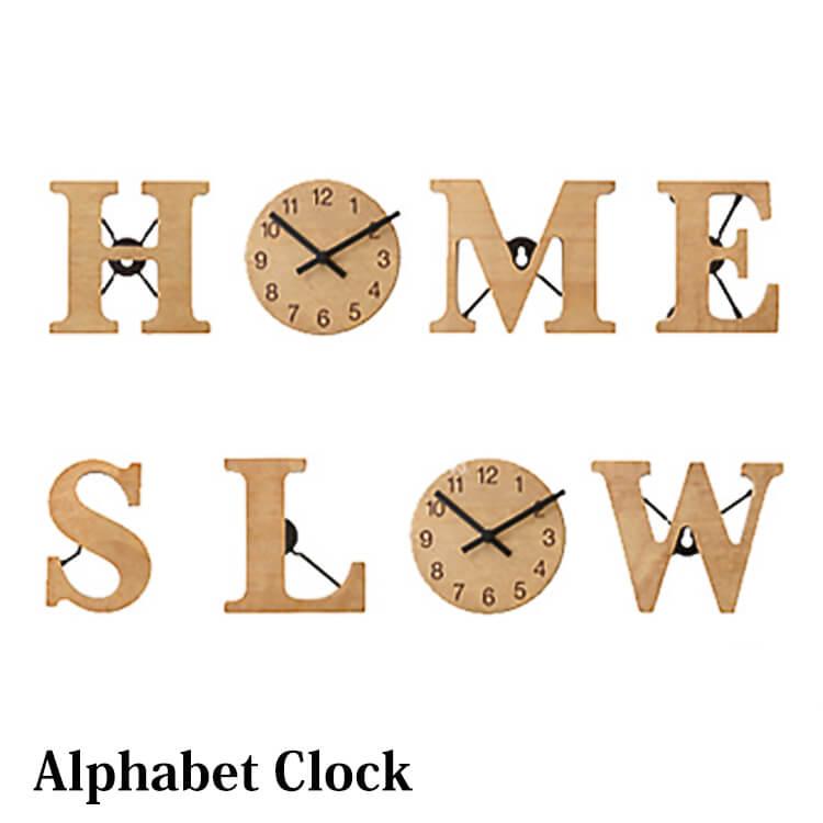 10日ポイント8倍 【送料無料】 壁掛け時計 ウォールクロック アルファベット 壁掛け時計 置時計 テーブルクロック 個性派 縁無し 木製 インテリア ナチュラル