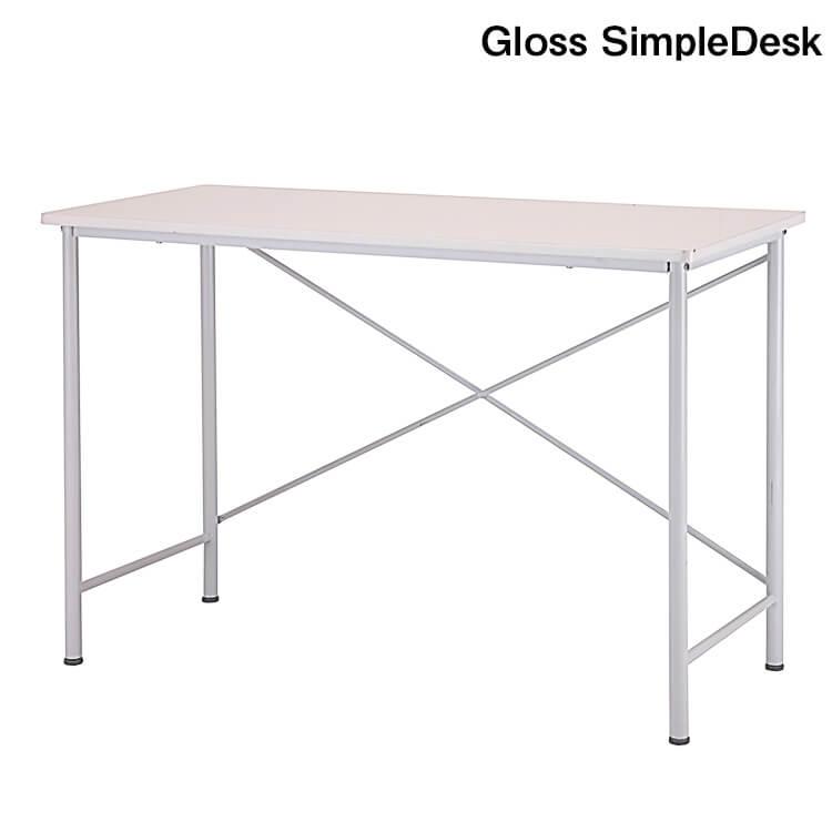 店内商品ポイント10倍 テーブル WH GlossSimpleDesk パソコン台 作業台 勉強机 パソコン 幅110cm シンプル 市場家具 在宅 テレワーク 【送料無料】
