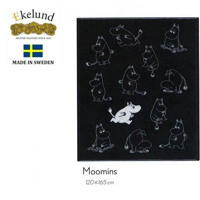 エーケルンド Ekelund ムーミン MOOMINS (モノクロ)120×165cm【大判ブランケット/ギフト/北欧/オーガニックコットン】#46155【送料無料】