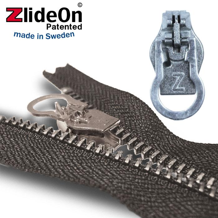 訳あり 壊れたファスナーを簡単に修理する北欧スウェーデン生まれの便利ツールです ズライドオン ZlideOn 8C-1 シルバー 丸プルタブ 動画 スライダー 低廉 ファスナー ジッパー チャックの簡単修理ツール