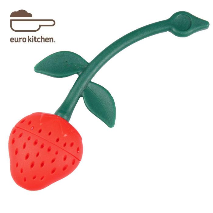 フルーツ型の茶こし器 ティーストレーナー です 飾ってもかわいいシリコンキッチングッズです シリコン製茶こし 受賞店 ストロベリー ユーロキッチン 並行輸入品 eurokitchen シリコンティーストレーナー