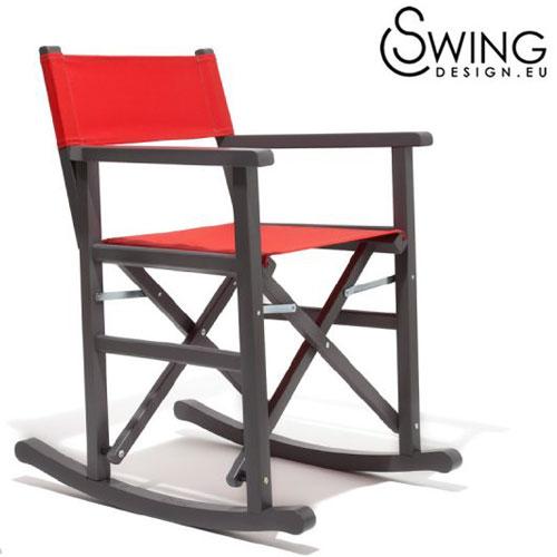 【送料無料】【Swing Design スウィングデザイン】イタリア製 ロッキング ディレクターズチェアー グレー [San Jose]