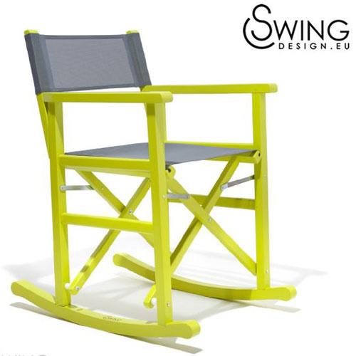【送料無料】【Swing Design スウィングデザイン】イタリア製 ロッキング ディレクターズチェアー レモンイエロー [Cahuita]