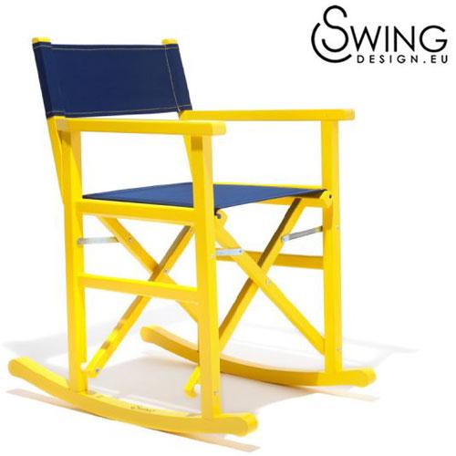 【送料無料】【Swing Design スウィングデザイン】イタリア製 ロッキング ディレクターズチェアー 黄 [Limon]