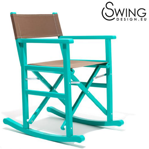【送料無料】【Swing Design [Tortughero] スウィングデザイン】イタリア製 ロッキング ロッキング ディレクターズチェアー 青緑 [Tortughero], オオマママチ:f18d9386 --- data.gd.no