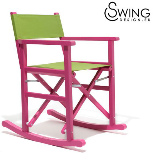 【送料無料】【Swing Design スウィングデザイン】イタリア製 ロッキング ディレクターズチェアー 赤紫 [Porto Vejo]