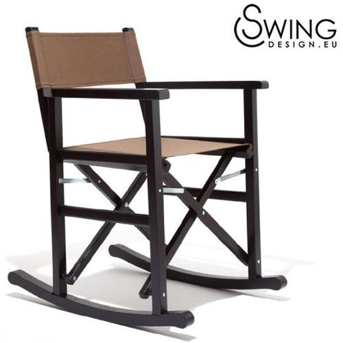 【送料無料】【Swing Design スウィングデザイン】イタリア製 ロッキング ディレクターズチェアー ブラック [Tango Indio]