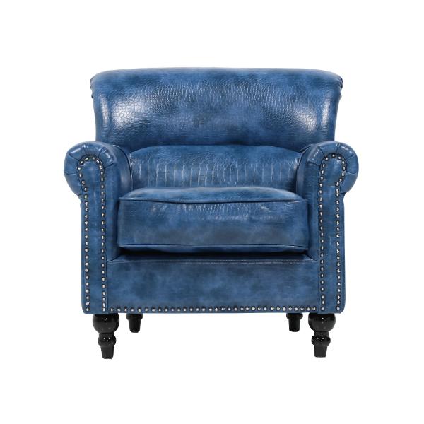 ソファ専門店 ロイヤルソファズ ヴィンセントシリーズ デスクチェア アンティーク 椅子 肘掛け 木製フレーム パーソナルチェア 合皮 など 価格 交渉 送料無料 デザイナーズ ソファー ヴィンテージ そふぁ 全国どこでも送料無料 シングルソファ 輸入家具 家具 1人掛け ブルークロコダイル調PUレザーヴィンテージスタイルシングルソファ VN1P79P