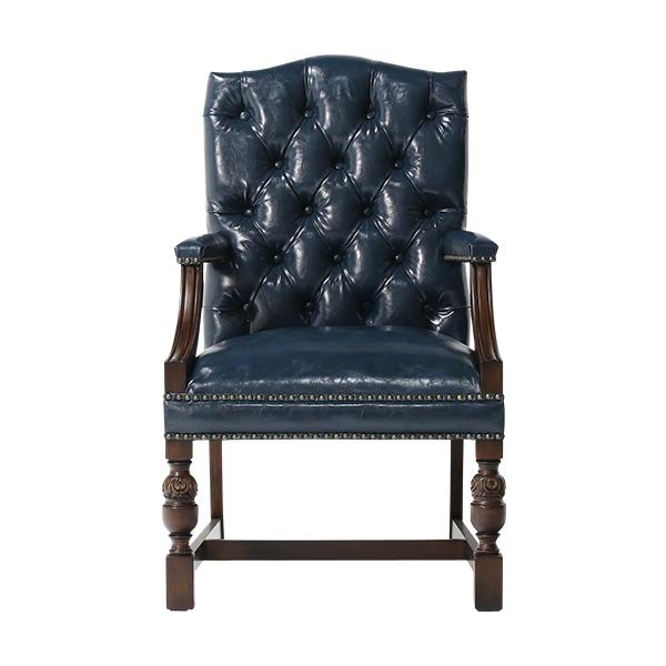 ヴィンセントシリーズ ダイニングチェア アームチェア 椅子 家具 ネイビー PUレザー チェスターフィールド 1人掛け 9002-A-5P58B ソファ専門店 ロイヤルソファズ