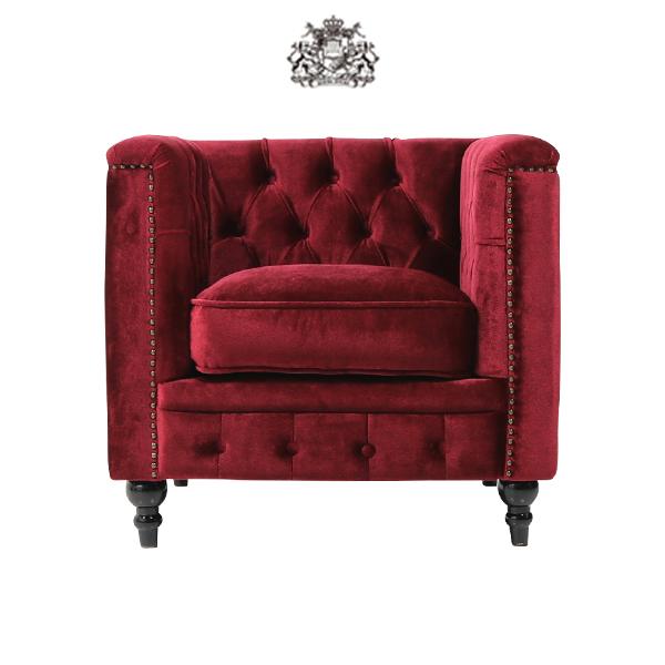 デザイナーズ ヴィンセントシリーズ シングルソファ 家具 レッド ベルベット スクエア チェスターフィールド VM1F41K ソファ専門店 ロイヤルソファズ
