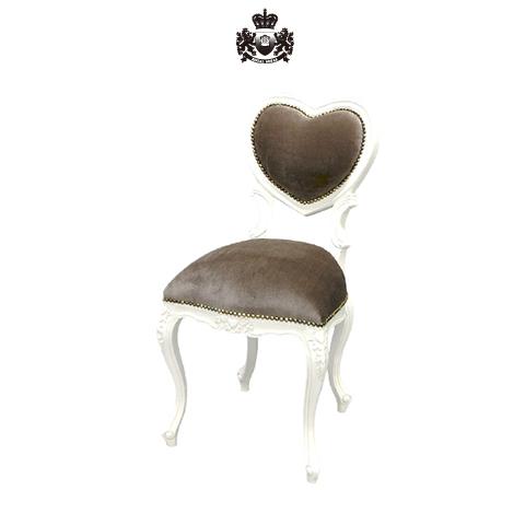 アンティークホワイトハートのロココチェア 椅子 イス 猫足 猫脚 アンティーク アンティーク家具調 クラシック ヴィンテージ ビンテージ フランス イタリア ホワイト グレー アイボリー ロリータ シャビー シック プリンセス ロマンチック 姫 姫系 6087-S-18F37