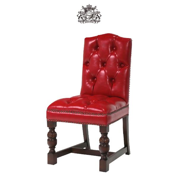 レッド チェスターフィールド PUレザー ダイニングチェア Vincent(ヴィンセント)シリーズ ヴィンテージ アンティーク シングルチェア 食卓椅子 ボタン 英国 イギリス 英国 ブリティッシュ チェア ソファ 輸入家具 店舗家具 合皮 合成皮革 赤色 9002-5P63B