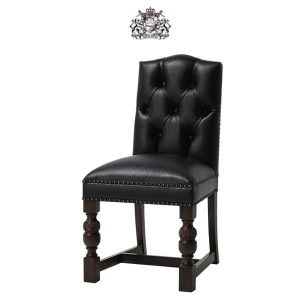 ブラック PUレザー チェスターフィールド ダイニングチェア Vincent(ヴィンセント)シリーズ ヴィンテージ アンティーク シングルチェア 食卓椅子 椅子 イス ボタン 英国 イギリス ブリティッシュ チェア 輸入家具 店舗家具 合皮 本革調 黒色 9002-5P32B