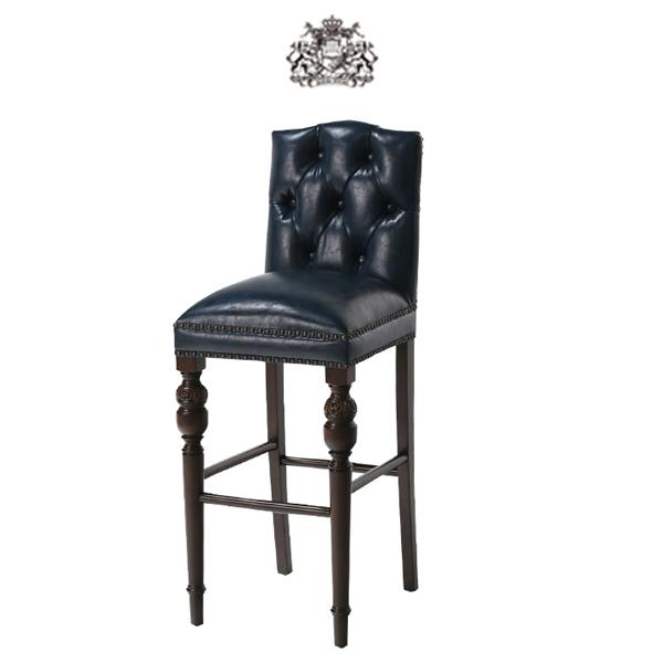 ネイビーチェスターフィールド PUレザー ダイニングチェア Vincent(ヴィンセント)シリーズ ヴィンテージ アンティーク シングルチェア 食卓椅子 ボタン 英国 イギリス 英国 ブリティッシュ チェア ソファ 輸入家具 店舗家具 合皮 合成皮革 紺色 ネイビー 9005-B-5P58B