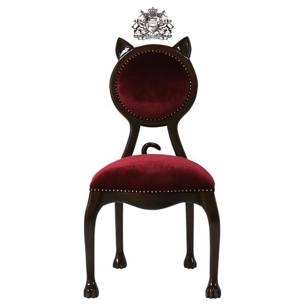 レッド ベルベット フレンチ ロココ シングルチェア 椅子 イス 猫 ネコ ねこアンティーク家具調 クラシック ビンテージ レトロ 布製 布地 プリンセス ロマンチック 姫 黒 ブラック カフェ ショップ アパレル 店舗什器 6106-5F41