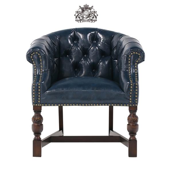 ヴィンセントシリーズ ラウンジチェア 椅子 家具 ネイビー PUレザー チェスターフィールド 1人掛け 9003-5P58B ソファ専門店 ロイヤルソファズ