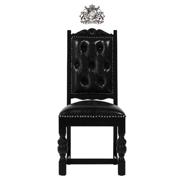 輸入家具 デザイナーズ ブラックPUレザーパンキッシュスタッズシングルチェア KINGSCROSS ヴィンテージ アンティーク シングルチェア 食卓椅子 ソファ ボタン 英国 イギリス ブリティッシュ チェア 店舗家具 合皮 本革調9012-8P51PN