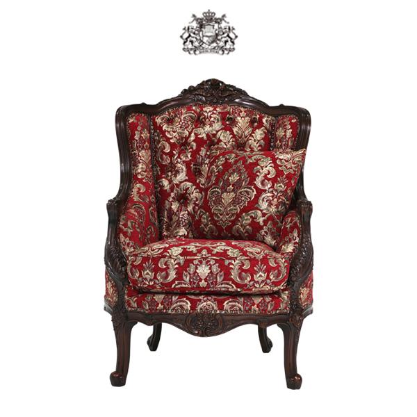 ダークブラウンフレームシングルソファ 1人掛け 1人掛け 一人掛け 椅子 イス 肘掛け 猫足 猫脚 アンティーク調 ヴィンテージ ビンテージ レトロ フランス イタリア ヴィクトリアン ゴシック ダークブラウン 茶色 レッド 赤色プリンセス 姫 布地 1008-1W-5F101B