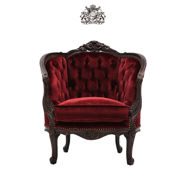 輸入家具 デザイナーズ ダークブラウンフレームシングルソファ 1人掛け 1人掛け 一人掛け 椅子 イス 肘掛け 猫足 猫脚 アンティーク調 ヴィンテージ レトロ フランス イタリア ブラウン 茶色 赤色 姫 布地 1008-1-5F41B