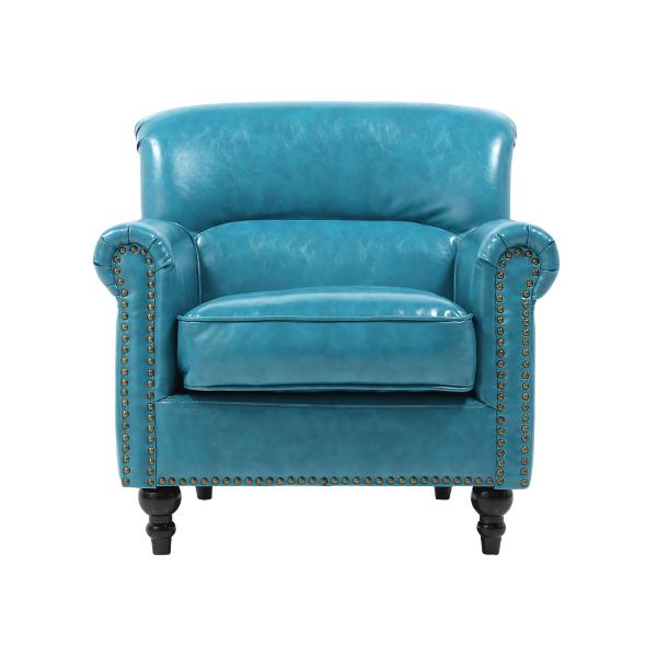 ヴィンセントシリーズ シングルソファ 家具 ターコイズブルー PUレザー ヴィンテージ コンパクト 1人掛け VN1P49K ソファ専門店 ロイヤルソファズ