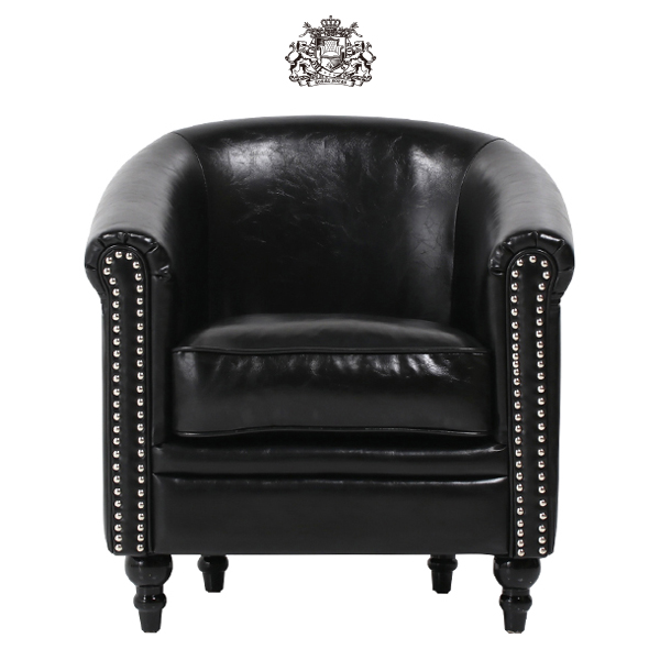 デザイナーズ ブラック PUレザー シルバー カラースタッズ ラウンジ シングルソファ コンパクト 1人掛け 1人掛け 椅子 肘掛け ボタン タブチェア アンティーク ヴィンテージ ビンテージ レトロ チェスターフィールド 本革調 レザー 合成皮革 VLA1P51K