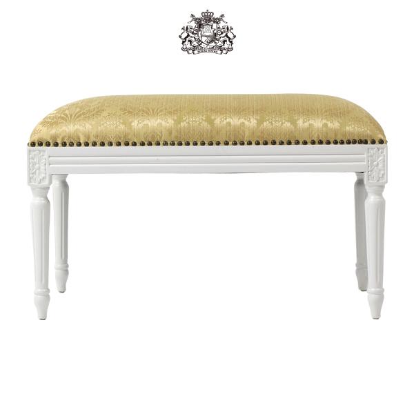 ルイ16世様式アンティークホワイトレッグフレンチスツール Mサイズ 椅子 イス チェア アンティーク アンティーク家具調 クラシック ヴィンテージ ビンテージ レトロ フランス イタリア ロココ調 布製 ファブリック ゴールド 1158-M-18F47
