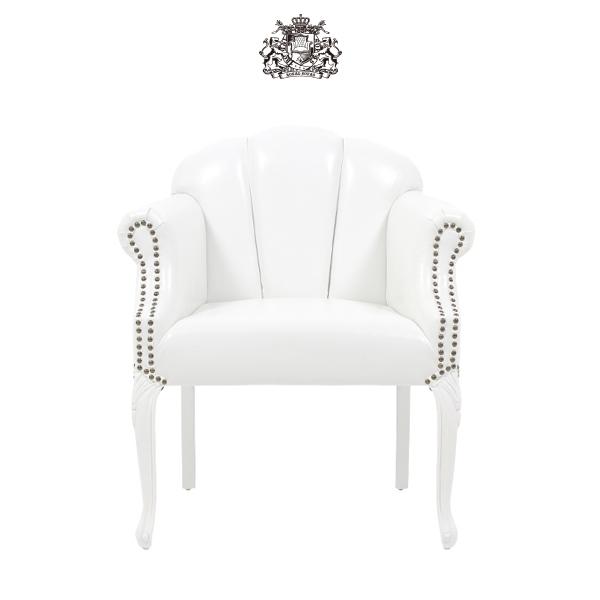 ホワイトPUレザーシェルアームチェア 椅子 イス 肘掛け 猫足 猫脚 アンティーク アンティーク家具調 クラシック ヴィンテージ ビンテージ レトロ シェル 貝殻モチーフ レザー調 合成皮革 合皮 ホワイト 白 6096-18PU65
