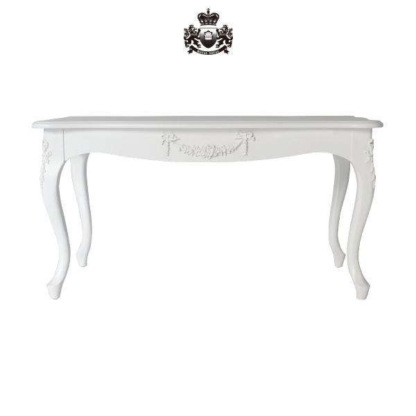 アンティークホワイトロココ調コーヒーテーブル ローテーブル センターテーブル アンティーク アンティーク家具調 クラシック ヴィンテージ ビンテージ レトロ イギリス フランス イタリア ヨーロッパ 白色 リボン プリンセス 姫 姫系 天使 ロリータ 木製 長方形 2022-18