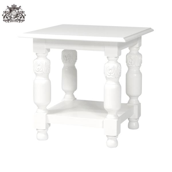 アンティークホワイトコーヒーテーブル ローテーブル センターテーブル アンティーク アンティーク家具調 クラシック ゴシック フランス イタリア ヨーロッパ ホワイト 白 白家具 木製 四角 正方形 2025-F-18