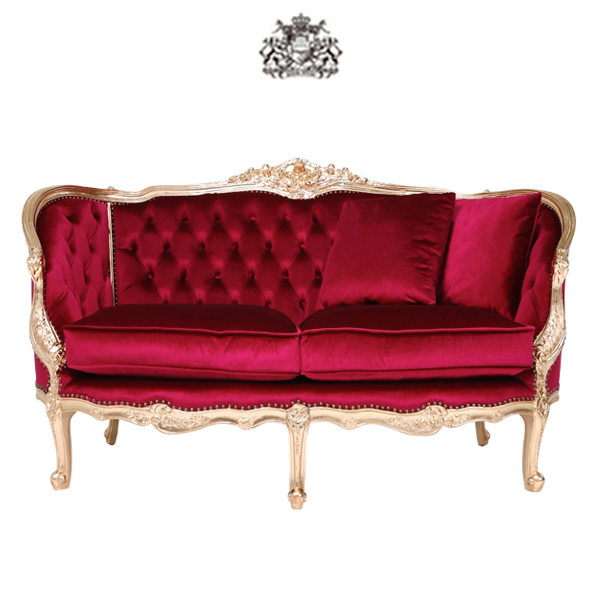 ロゼゴールドフレームラブソファ 2人掛け 2人掛け 二人掛け 椅子 イス 肘掛け 猫足 猫脚 アンティーク調 アンティーク家具 ヴィンテージ ビンテージ レトロ フランス イタリア ヴィクトリアン ゴシック レッド 赤色 布地 1008-2-52F112B