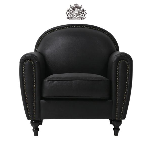 ブラックアールデコスタイルシングルソファ(チェア) ソファー 椅子 肘掛け アンティーク ヴィンテージ ビンテージ レトロ チェスターフィールド 本革調 レザー 合成皮革 茶色 イギリス 英国 ロンドン VD1P32K