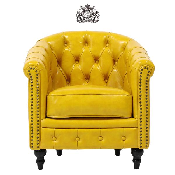 デザイナーズ チェスターフィールドソファ(チェア) ソファー コンパクト 1人掛け 1人掛け 椅子 肘掛け ボタン タブチェア アンティーク ヴィンテージ ビンテージ レトロ チェスターフィールド 本革調 レザー 合成皮革 スタッズ 鋲 イエロー VL1P69K