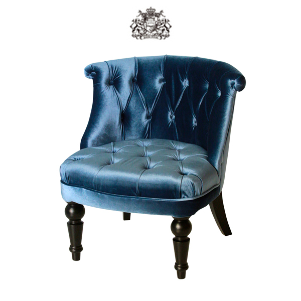 ブルー ベルベット ラムズゲイト シングル チェア【1人掛け】RM1F92K:ソファ専門店 ロイヤルソファズ