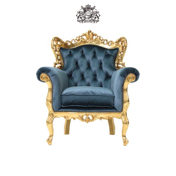 イタリアンロコココンパクトシングルソファ 1人掛け 1人掛け 一人掛け 椅子 イス 肘掛け 猫足 猫脚 アンティーク アンティーク家具調 クラシック 店舗 シンフォニー イタリア ゴールド 金色 青色 ブルー 布地 ファブリック プリンセス 輸入家具 かわいい 1006-1-SH-10F92B